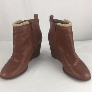 Lucky Brand brown leather zip side wedge booties-9
